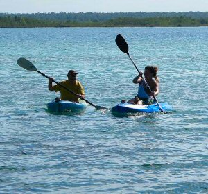 Kayaking around Bacalar Lagoon